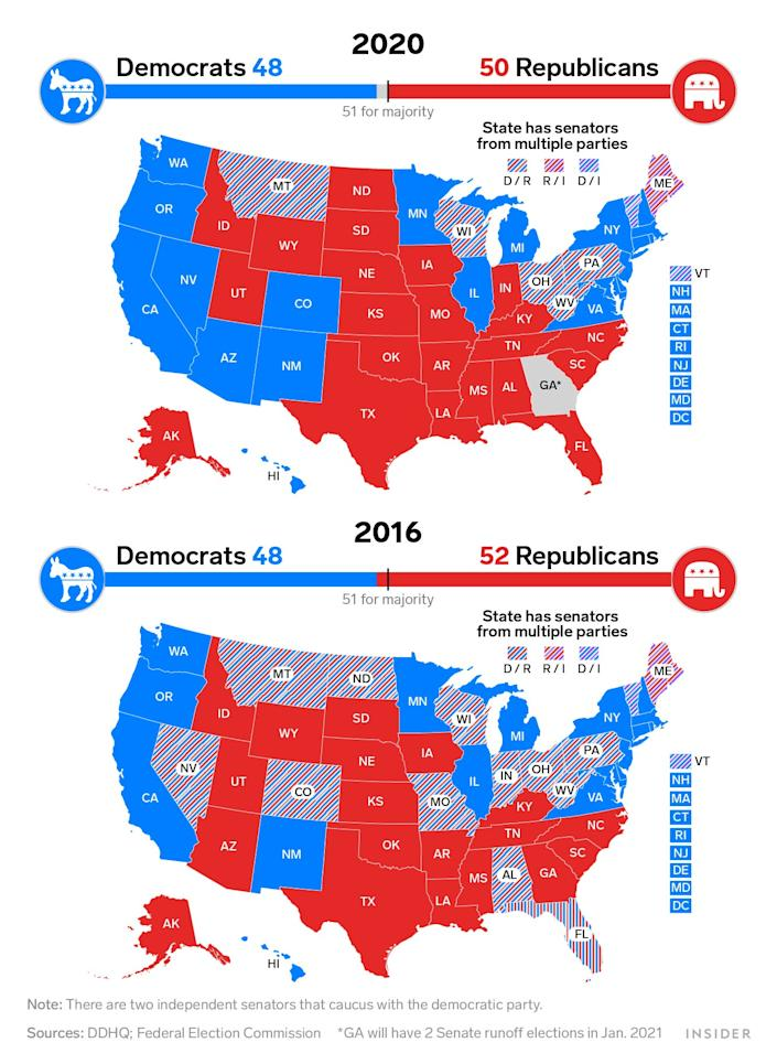 2016 vs 2020 senate maps
