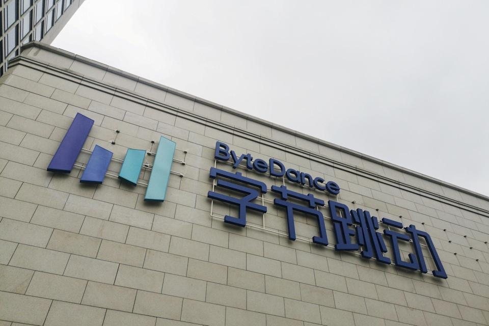 Bytedance's sign on the facade of its headquarters in Beijing, on August 8, 2018. Photo: Reuters