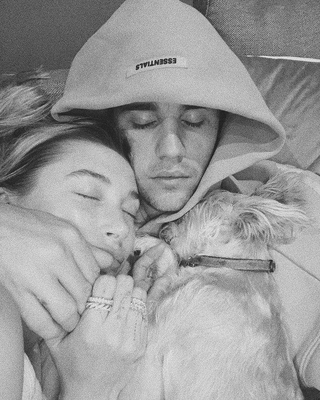 "<p>Justin and Hailey took an adorable photo with their maltese terrier, Oscar.</p><p><a href=""https://www.instagram.com/p/CAOzy5yHp75/"" rel=""nofollow noopener"" target=""_blank"" data-ylk=""slk:See the original post on Instagram"" class=""link rapid-noclick-resp"">See the original post on Instagram</a></p>"
