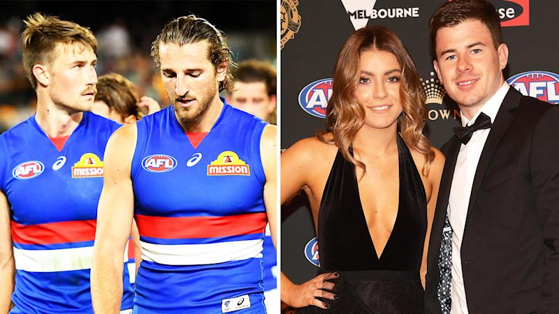 Tenisha Crook, (pictured right posing with Richmond star and husband Jack Higgins at the Brownlow Medal Awards) and the Bulldogs (pictured left) looking dejected.