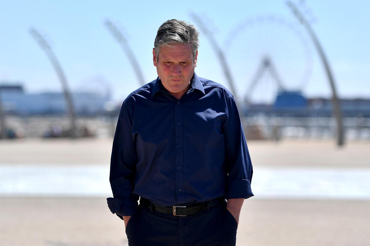 BLACKPOOL, ENGLAND - JULY 15: Labour Party leader Sir Keir Starmer during a walkabout on the Comedy Carpet on Blackpool Promenade on July 15, 2021 in Blackpool, England. (Photo by Anthony Devlin/Getty Images)