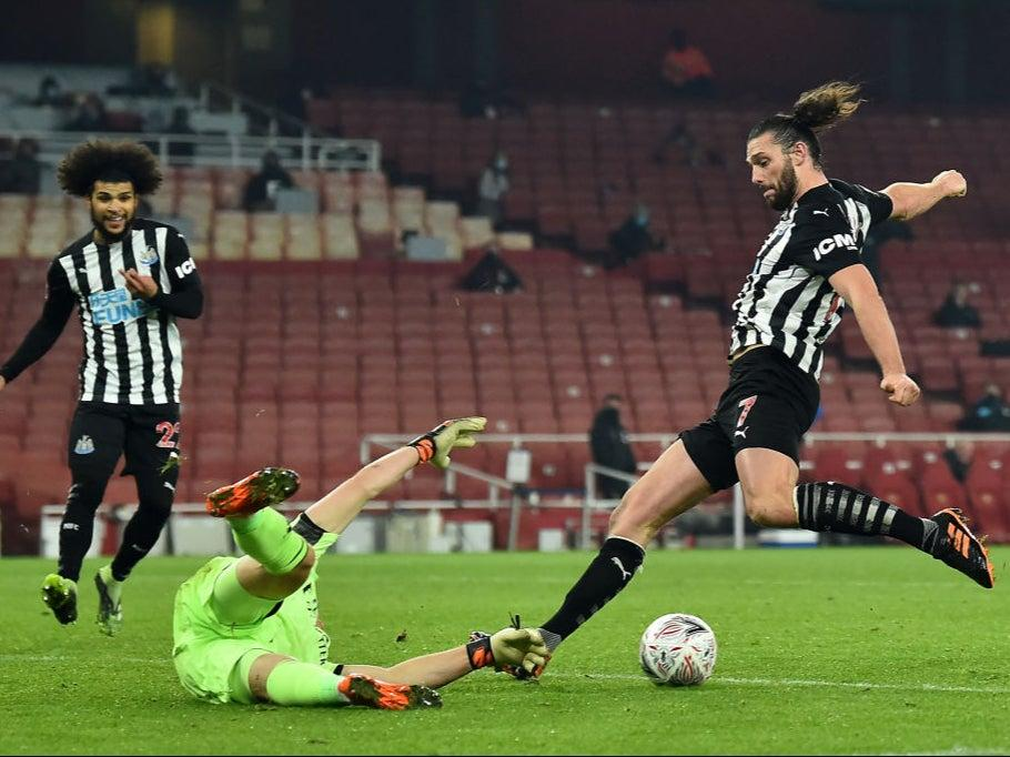 Andy Carroll almost snatched victory for Newcastle at the EmiratesAFP via Getty Images