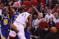 Toronto Raptors center Serge Ibaka (9) loses the handle on the ball as the Toronto Raptors lose to the Golden State Warriors in game five of the NBA Finals at Scotiabank Arena in Toronto. June 10, 2019. (Steve Russell/Toronto Star via Getty Images)