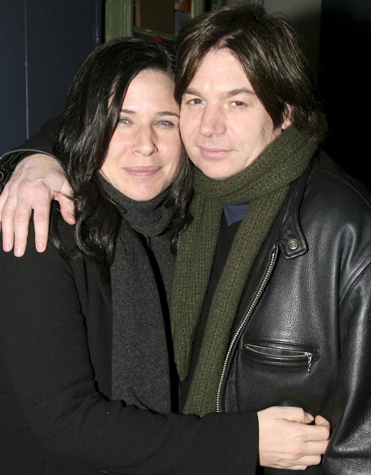 "Robin Ruzan Myers and Mike Myers during Mike Myers Visits the Cast of David Mamet's ""Romance"" at The Atlantic Theater in New York City, NY, United States. (Photo by Bruce Glikas/FilmMagic)"