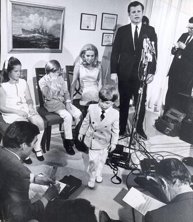 <p>Sen. Edward Kennedy announces he will run for re-election of his Senate seat on June 11, 1970 in Boston, Mass., during a press conference attended by daughter Kara, 10; son Ted Jr., 8; Patrick, 3; and wife Joan Kennedy. (Photo: Charles Dixon/The Boston Globe via Getty Images) </p>