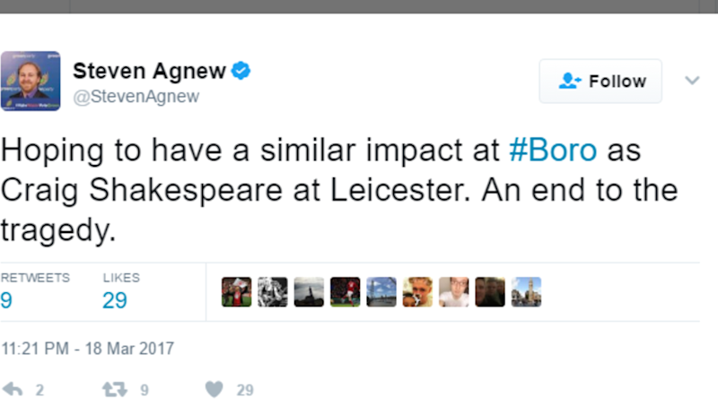 Middlesbrough Fans Spend All Weekend Tweeting the Wrong 'Steve Agnew' in Identity Mix-Up