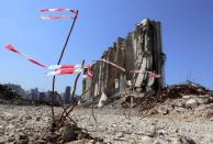 A view shows the grain silo that was damaged during last year's Beirut port blast, in Beirut
