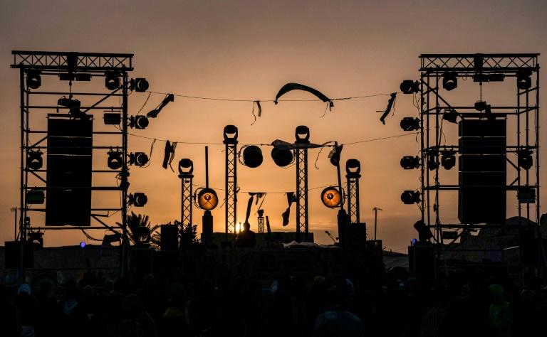 """Electronic music festival """"Les Dunes Electroniques"""" at Ong Jmel, near the town of Nefta in Tunisia"""