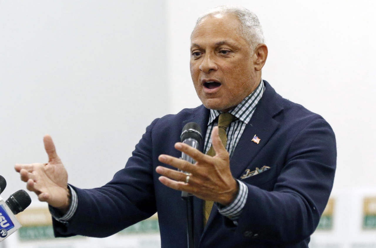 Mike Espy who is seeking to unseat appointed U.S. Sen. Cindy Hyde-Smith, R-Miss., and serve the last two years of the six-year term vacated when Republican Thad Cochran retired for health reasons, speaks before the leadership of Working Together Jackson during their luncheon and accountability session, Wednesday, Nov. 14, 2018 in Jackson, Miss. (AP Photo/Rogelio V. Solis)