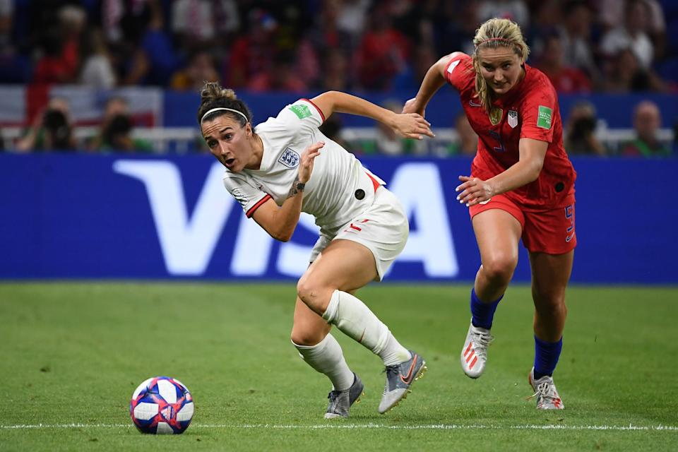 United States' midfielder Lindsey Horan (R) vies for the ball with England's defender Lucy Bronze during the France 2019 Women's World Cup semi-final football match between England and USA, on July 2, 2019, at the Lyon Stadium in Decines-Charpieu, central-eastern France. (Photo by Franck Fife/AFP/Getty Images)