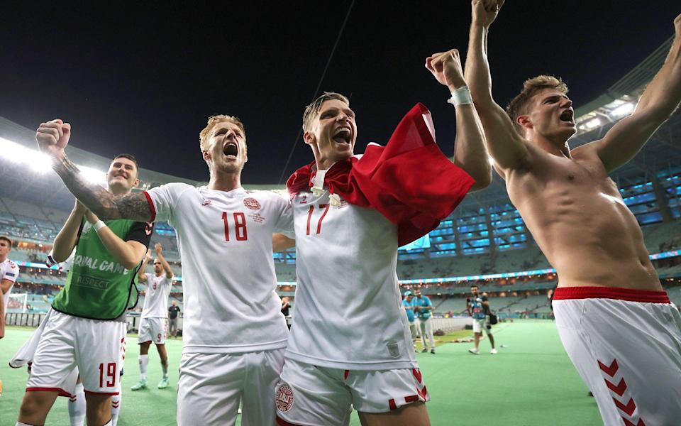 Denmark celebrate their win over Czech Republic - Getty Images