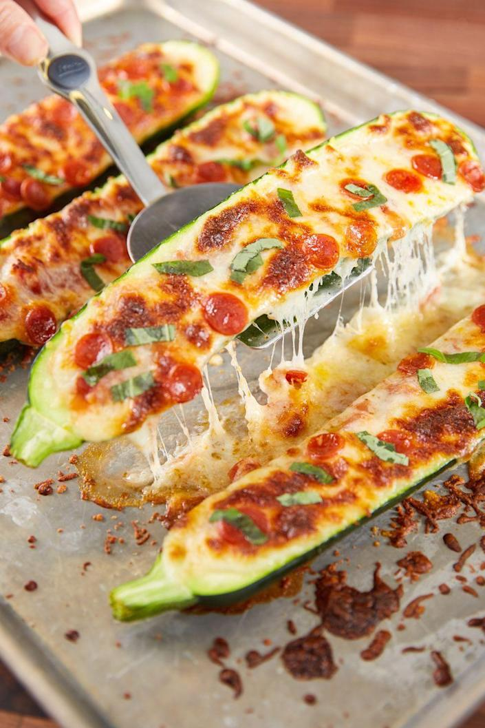 "<p>It's healthy and cheesy, what else could you ask for?</p><p>Get the recipe from <a href=""https://www.delish.com/cooking/recipe-ideas/recipes/a48267/pizza-zucchini-boats-recipe/"" rel=""nofollow noopener"" target=""_blank"" data-ylk=""slk:Delish"" class=""link rapid-noclick-resp"">Delish</a>.</p><p><strong><strong><a class=""link rapid-noclick-resp"" href=""https://www.amazon.com/Calphalon-Nonstick-Bakeware-Baking-2-Piece/dp/B008BUKO6G/?tag=syn-yahoo-20&ascsubtag=%5Bartid%7C1782.g.3733%5Bsrc%7Cyahoo-us"" rel=""nofollow noopener"" target=""_blank"" data-ylk=""slk:BUY NOW"">BUY NOW</a><em> Calphalon Nonstick Bakeware, $20, amazon.com</em></strong></strong><br></p>"
