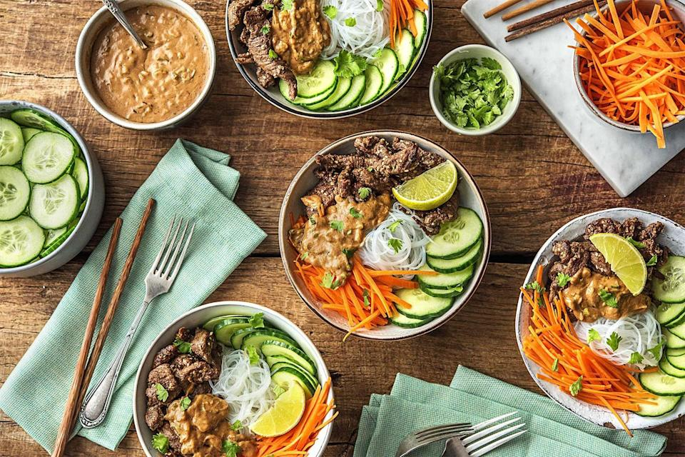 "<p><strong>Perfect for:</strong> Cooks who want simple directions and straightforward meals</p> <p><strong>The details:</strong> HelloFresh offers entrees in four straightforward categories: ""meat and veggies,"" ""veggies,"" ""family-friendly,"" or ""low calorie."" Whichever option you choose, you'll then be offered plenty of recipe choices that are filled with seasonal produce and high-quality ingredients. Pair this with a <a href=""https://www.glamour.com/gallery/best-wine-subscriptions?mbid=synd_yahoo_rss"" rel=""nofollow noopener"" target=""_blank"" data-ylk=""slk:wine club"" class=""link rapid-noclick-resp"">wine club</a> subscription and you've got everything you need for a tasty night in. </p> <p><strong>The cost:</strong> Meals begin at $8.99 per serving, and the minimum order is six servings totaling $53.94.</p> <p><strong>Availability:</strong> HelloFresh is available throughout the continental U.S.</p> $71.7, HelloFresh. <a href=""https://www.hellofresh.com/plans"" rel=""nofollow noopener"" target=""_blank"" data-ylk=""slk:Get it now!"" class=""link rapid-noclick-resp"">Get it now!</a>"