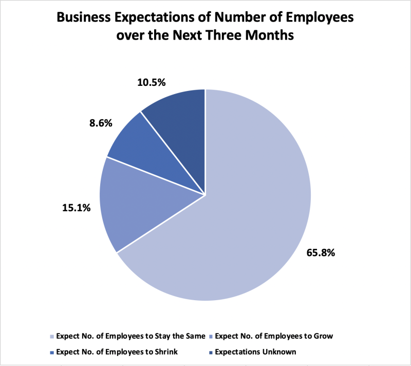In a Statistics Canada survey, it was found that nearly two-thirds of businesses expected their employee headcount to remain the same over the next three months.