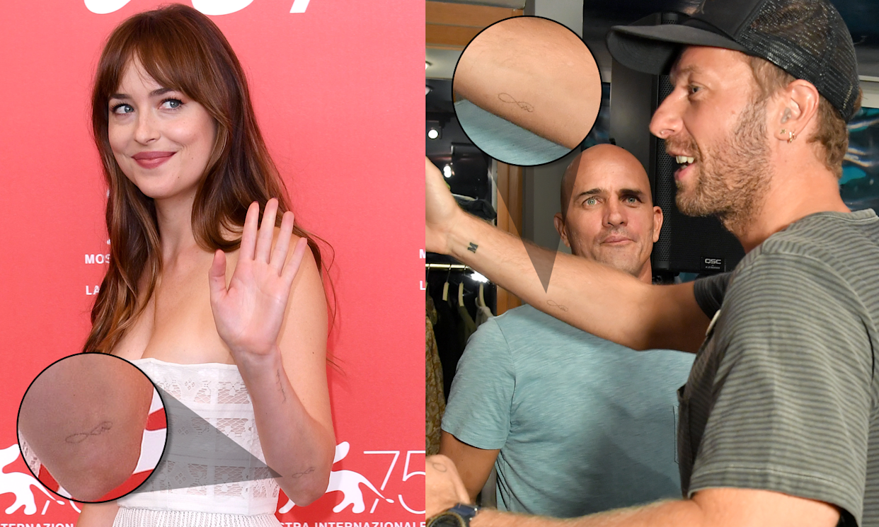 A look at Dakota Johnson's and Chris Martin's new ink. (Photo: Shutterstock)