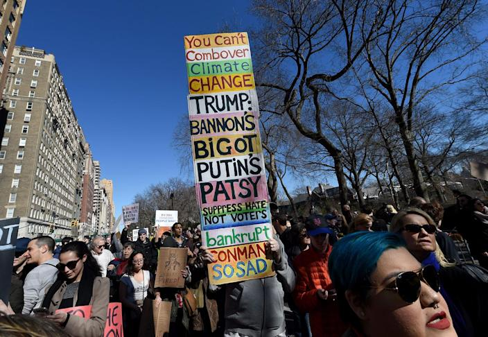 """<p>Protestors march near Central Park West in New York City during a """"Not My President's Day"""" rally on Feb. 20, 2017, as part of a protest against President Trump. (Timothy A. Clary/AFP/Getty Images) </p>"""