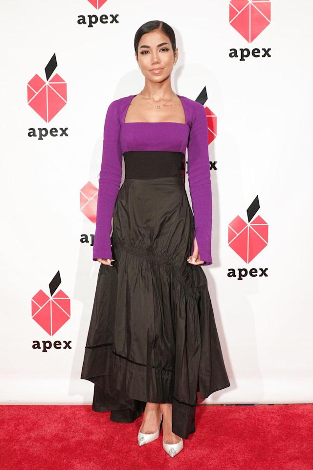 <p>Singer-songwriter Jhené Aiko, in a purple-and-black color-block dress, was awarded Apex for Youth's 2018 Inspiration Award. (Photo: BFA/Courtesy of Apex for Youth) </p>