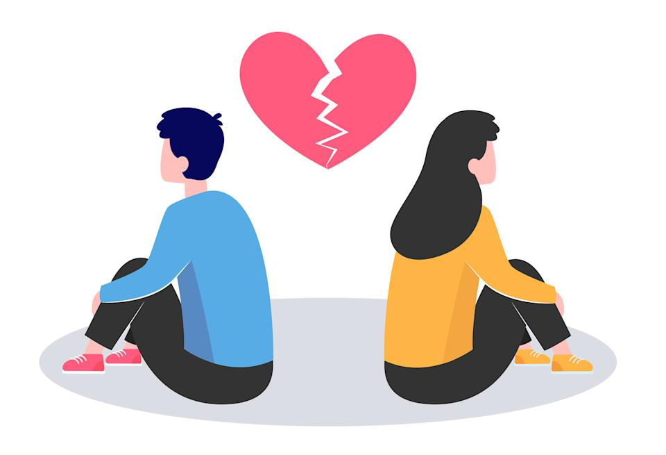 Conflict in couple. Young man and woman turning their back on under broken heart flat vector illustration. Breakup, heartbreak, split up concept for banner, website design or landing web page