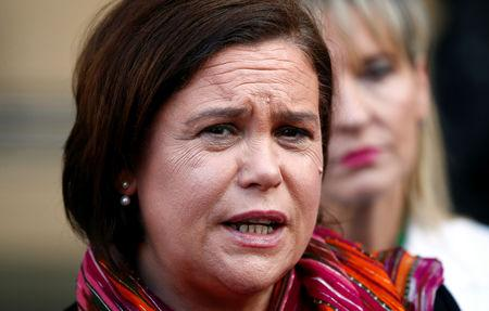 FILE PHOTO: Sinn Fein Leader Mary Lou McDonald leaves a meeting with European Union Chief Brexit Negotiator Michel Barnier at the EU Commission headquarters in Brussels, Belgium April 1, 2019. REUTERS/Francois Lenoir