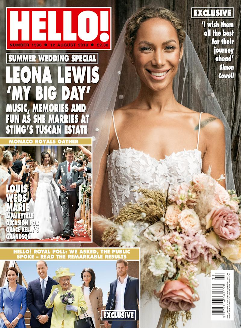 Leona Lewis on the cover of Hello!. [Photo: Hello!/Press Association Images]
