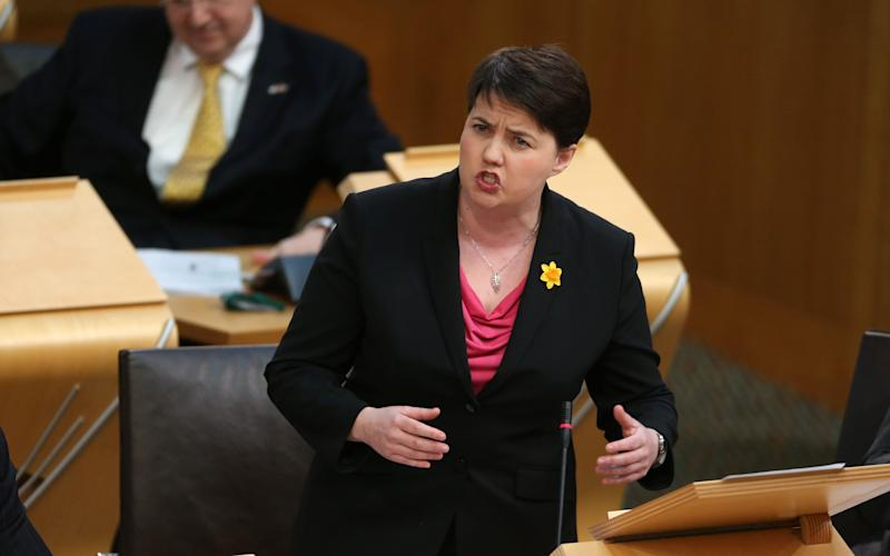 Ruth Davidson challenged John Swinney over his oil bonus claim - Credit: Andrew MacColl/REX/Shutterstock