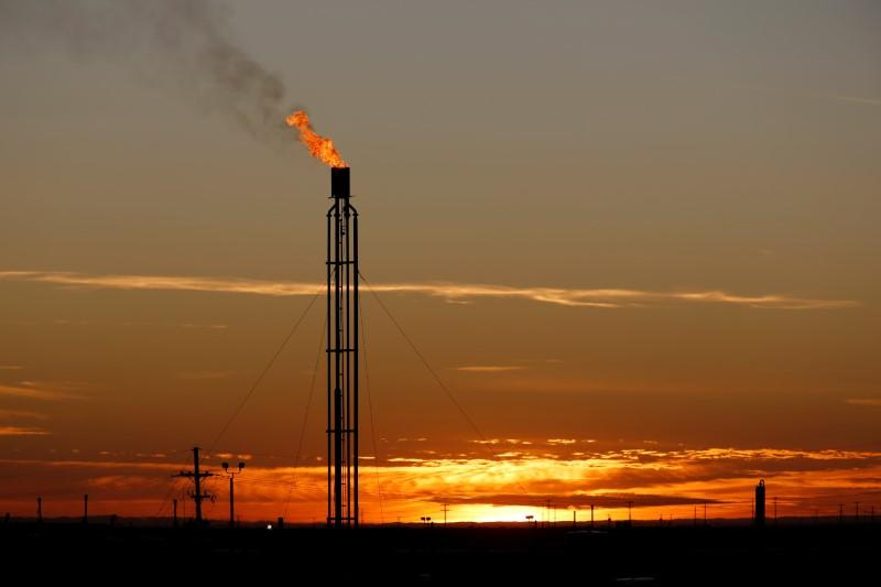 A flare burns excess natural gas in the Permian Basin in Loving County, Texas