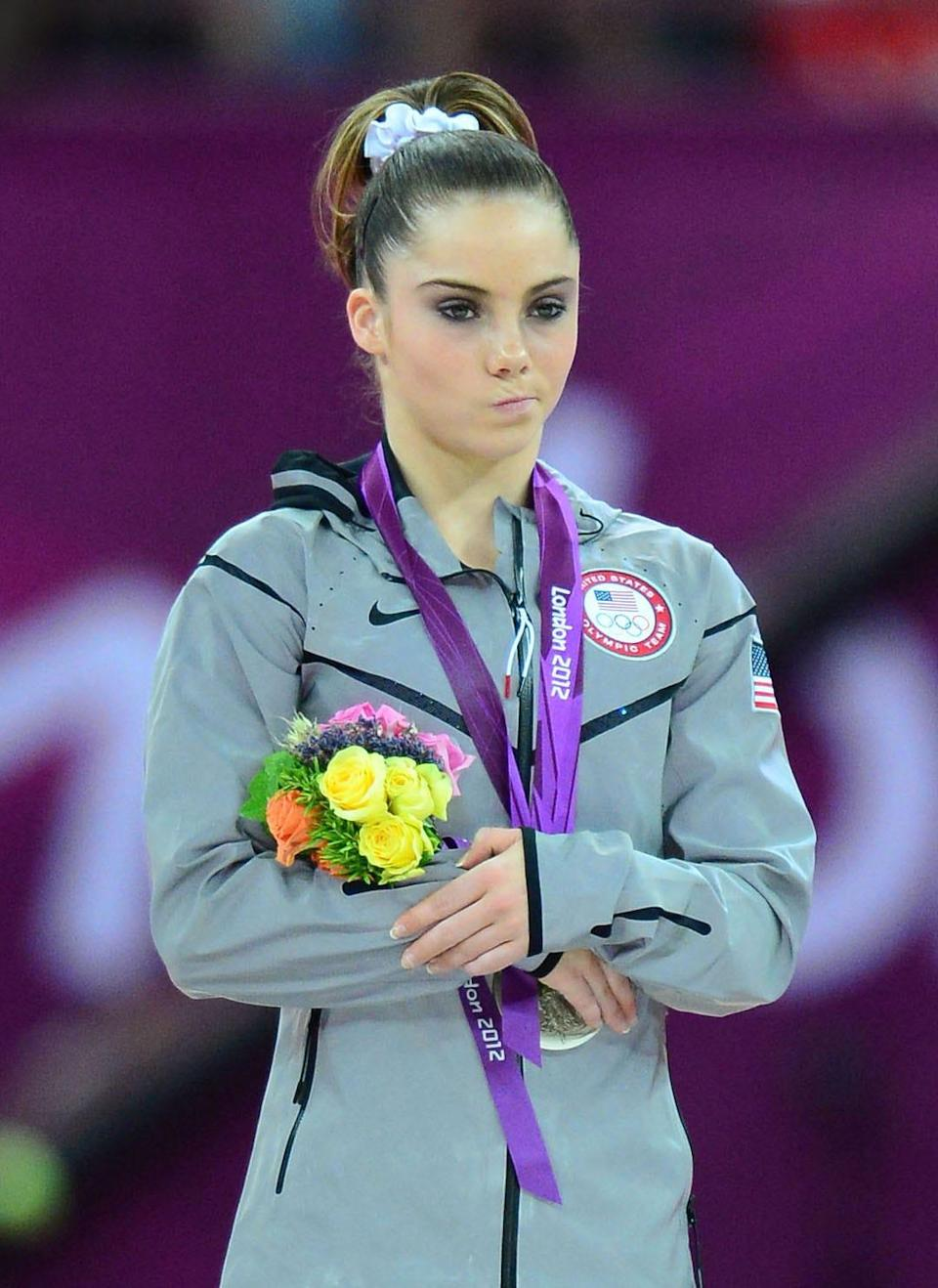 McKayla Maroney reacts on the podium after winning the silver medal in the vault competition at North Greenwich Arena in the London 2012 Olympic Games. Her reaction ended up being on of the most viral moments of the games.