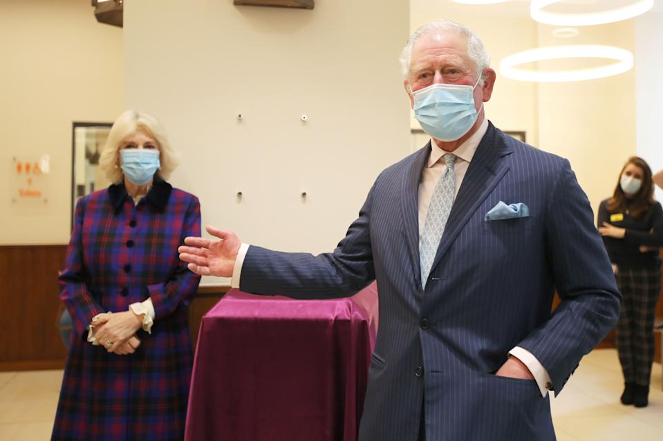 The Prince of Wales and Duchess of Cornwall during a visit to the Queen Elizabeth Hospital in Birmingham to thank volunteers undertaking clinical trials for the Covid-19 vaccinations. Picture date: Wednesday February 17, 2021.