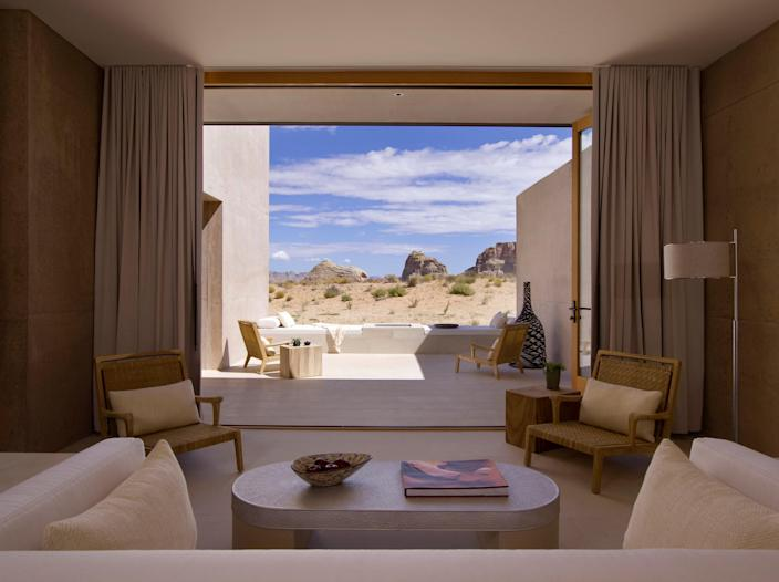 The picturesque view inside a room at Amangiri, surrounded by Utah desert.