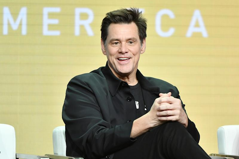 """BEVERLY HILLS, CA - AUGUST 02: Jim Carrey of """"Kidding"""" speaks during the Showtime segment of the 2019 Summer TCA Press Tour at The Beverly Hilton Hotel on August 2, 2019 in Beverly Hills, California. (Photo by Amy Sussman/Getty Images)"""