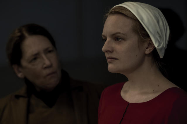 Ann Dowd and Elisabeth Moss in Season 2 of <em>The Handmaid's Tale. </em>(Photo: George Kraychyk/Hulu)