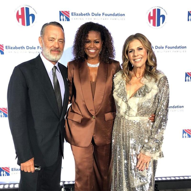 Michelle Obama Tears Up as She Accepts Tom Hanks Award for Service to Military Caregivers