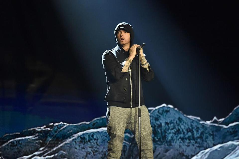 Eminem on stage at the VMAs