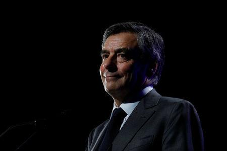 Francois Fillon, 2017 presidential election candidate of the French centre-right, delivers a speech at a campaign rally in Caen