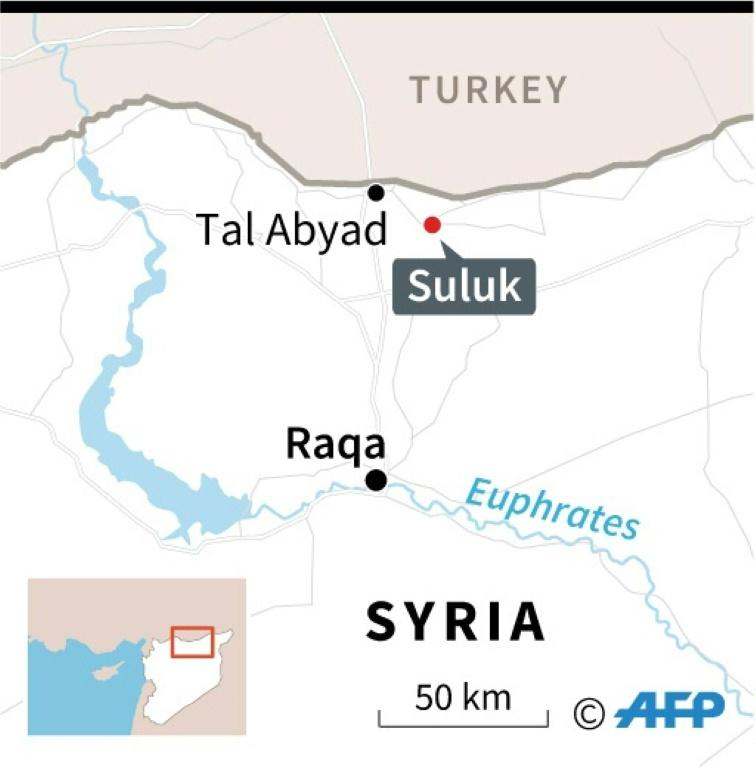 Map locating Suluk, near Tal Abyad in Syria, site of a deadly car bomb attack Sunday, according to the Syrian Observatory for Human Rights