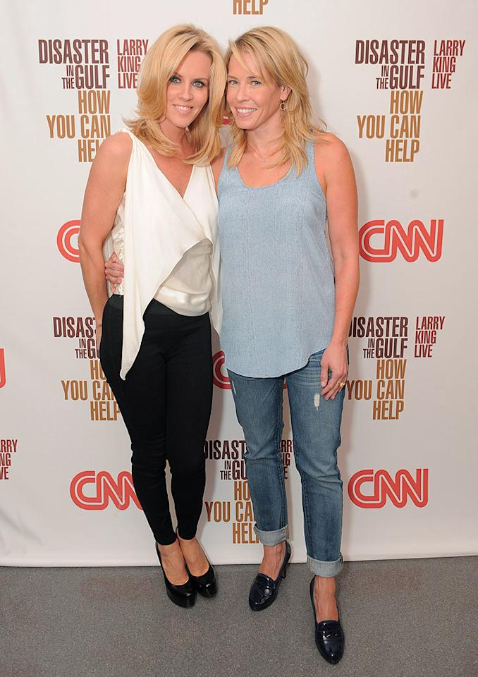 "Hottie Jenny McCarthy and late night TV host Chelsea Handler shared a sideways hug on the red carpet outside CNN's Hollywood studio. Jordan Strauss/<a href=""http://www.wireimage.com"" target=""new"">WireImage.com</a> - June 21, 2010"