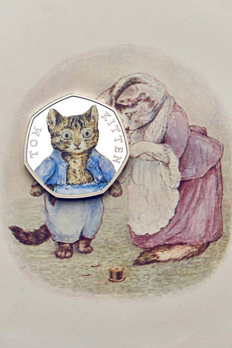 Tom Kitten, with distinctive blue jakcket, on a 50p (Royal Mint)