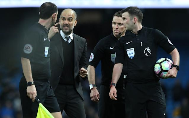 <span>Guardiola carried on after the final whistle</span> <span>Credit: PA </span>