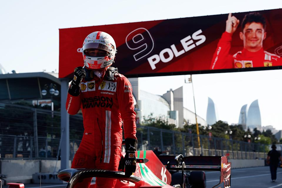 <p>Charles Leclerc sealed his ninth career pole position in Baku</p> (Getty Images)