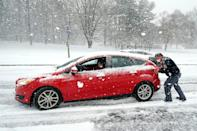 <p>It wasn't all fun and games for some, like this motorist who needed a push outside Baltimore.</p>