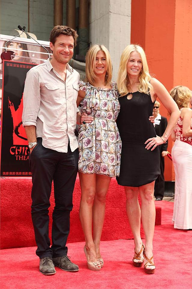 "Also in attendance at the celebration -- which took place directly in front of Grauman's Chinese Theatre on Hollywood Boulevard -- were Jen's ""Horrible Bosses"" co-star, Jason Bateman, and her new BFF (sorry, Courteney Cox!), comedienne Chelsea Handler. Eric Charbonneau/<a href=""http://www.wireimage.com"" target=""new"">WireImage.com</a> - July 7, 2011"