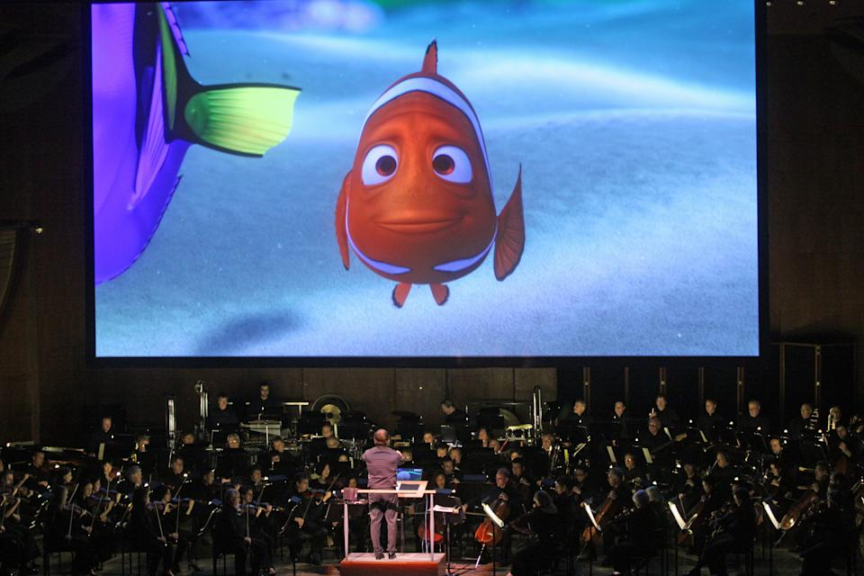 "David Newman leads the New York Philharmonic in ""Pixar in Concert"" at Avery Fisher Hall on Thursday night, May 1, 2014.This image:""Finding Nemo.""(Photo by Hiroyuki Ito/Getty Images)"
