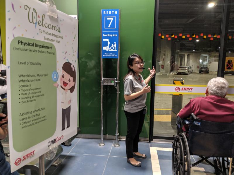 An assistive panel that allows wheelchair users to alert bus drivers that they require aid, as seen at the hub on 23 August, 2019. (PHOTO: Yahoo News Singapore)