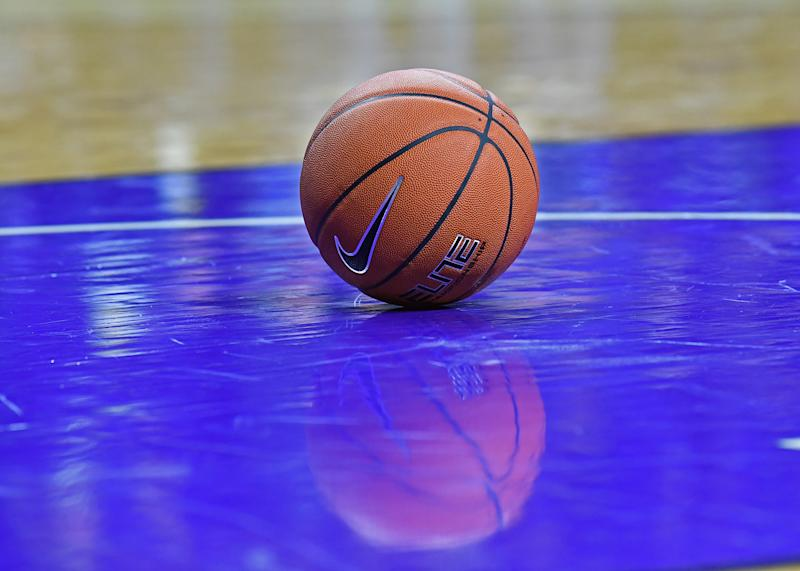 MANHATTAN, KS - JANUARY 09: A general view of a basketball on the floor during a game between the Kansas State Wildcats and West Virginia Mountaineers on January 9, 2019 at Bramlage Coliseum in Manhattan, Kansas. (Photo by Peter G. Aiken/Getty Images)