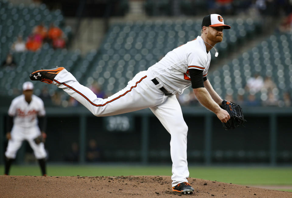 Baltimore Orioles starting pitcher Alex Cobb follows through on a pitch to a Seattle Mariners batter during the first inning of a baseball game Wednesday, June 27, 2018, in Baltimore. (AP Photo/Patrick Semansky)