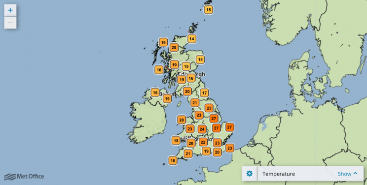 Temperatures this week are set to climb to the high 20s (Met Office)