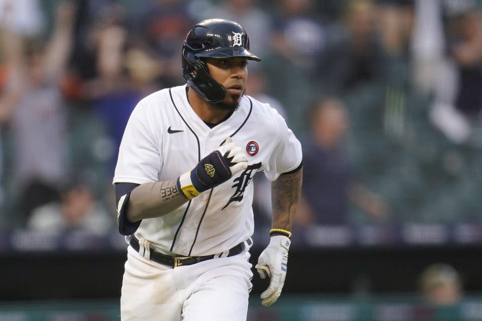 Detroit Tigers' Harold Castro hits a single against the Chicago Cubs in the 10th inning of a baseball game in Detroit, Saturday, May 15, 2021. Detroit won 9-8. (AP Photo/Paul Sancya)