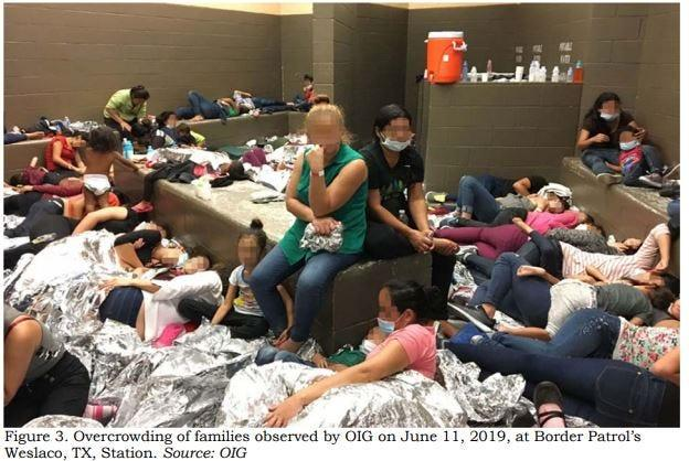 This image released in a report on July 2, 2019, by the US Department of Homeland Security (DHS) Inspector General Office (OIG) shows migrant families overcrowding a Border Patrol facility on June 11, 2019, in Weslaco, Texas.