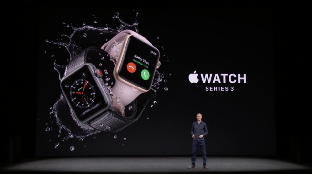 Apple COO Jeff Williams announces the Apple Watch Series 3 at the Steve Jobs Theater in Apple Park.