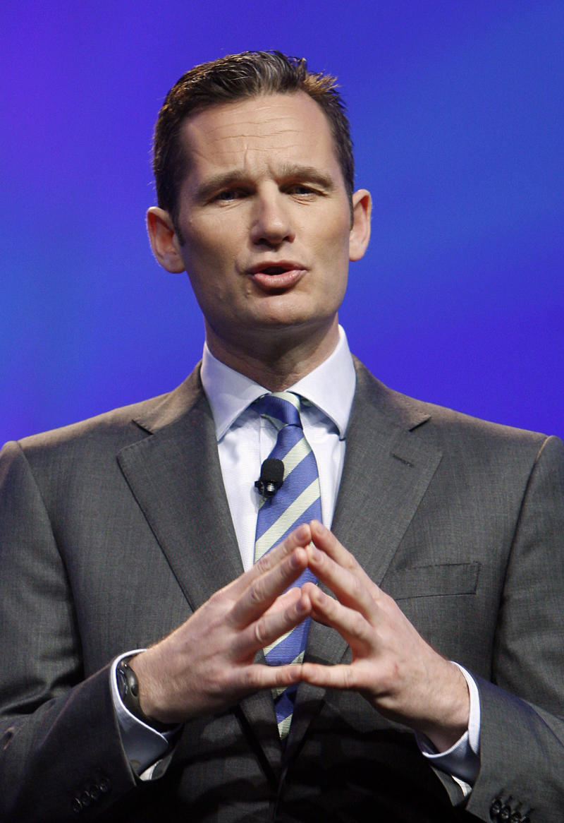 FILE - In this March 23, 2010 file photo, Inaki Urdangarin, the son-in-law of Spain's King Juan Carlos, delivers a speech at the CTIA wireless show in Las Vegas, Nevada. Urdangarin, married to the king's second daughter, Princess Cristina, is accused of having used his position to embezzle several million dollars in public contracts assigned to a nonprofit foundation he set up. The corruption scandal is contributing to the public's diminishing respect for the monarchy. With the 75-year-old king's reputation in decline and several health scares recently, Juan Carlos and the Spanish monarchy are facing one of their biggest crises ever. (AP Photo/Isaac Brekken, File)